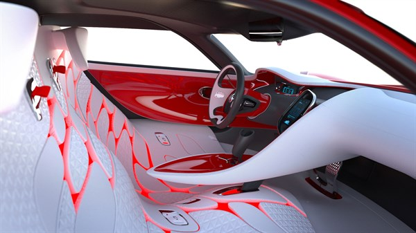 Renault DEZIR concept - interior view with cabin and front seats
