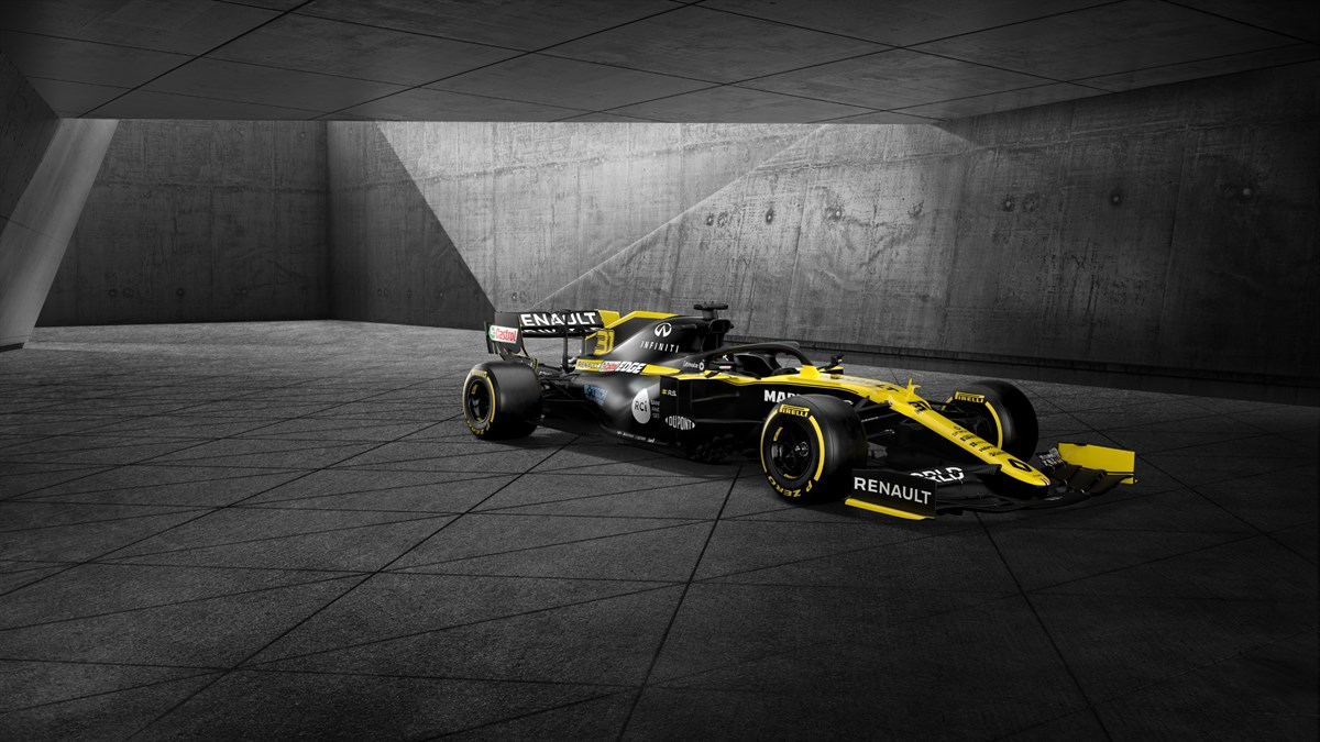 Renault Formula One Team - Renault Formula One and partner logos against black background